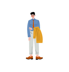 business man standing and holding jacket in his vector image