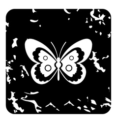 Butterfly icon grunge style vector