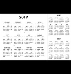 calendar for 2019 2020 2021 year week vector image