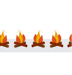 campfire seamless border wood vector image