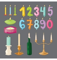 Candle birthday numbers with fire vector