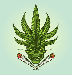 cannabis skull joint weed smoke vector image