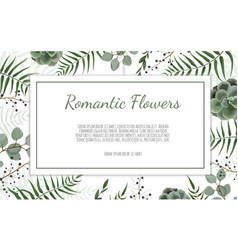 Card with leaves and flowers floral poster vector