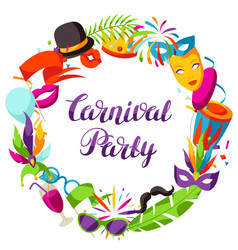 carnival party frame with celebration icons vector image