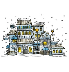 cartoon city coated by snow vector image