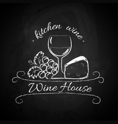 Chalk logo wine vector