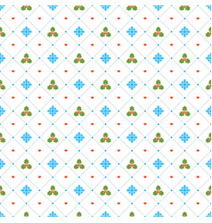 christmas seamless pattern with mistletoe and vector image