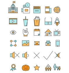 Cinema and movie industry line icons set flat vector image
