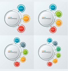 Circle chart infographic templates with 3-6 vector