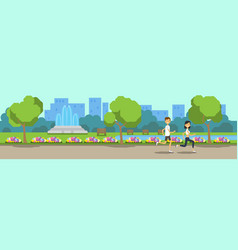 city park man woman activities running green lawn vector image