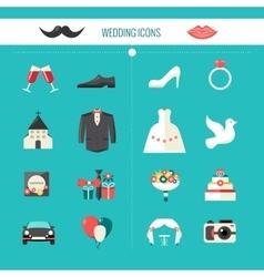 Color Decorative Wedding Icons vector