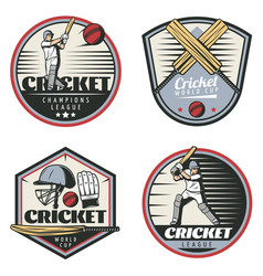 colored vintage cricket sport emblems set vector image