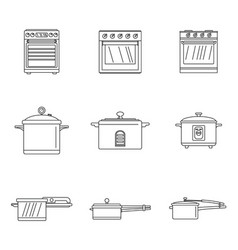 Cooker oven stove pan icons set outline style vector