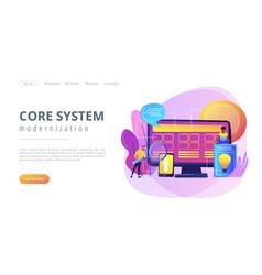 Core system development concept landing page vector