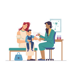 covid19 vaccination doctor vaccinate boy injection vector image