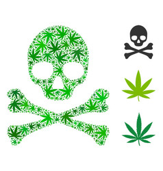 Death skull composition of marijuana vector