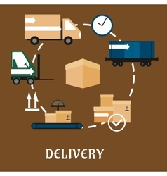 Delivery shipping and logistics flat icons vector