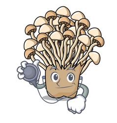 Doctor enoki mushroom character cartoon vector