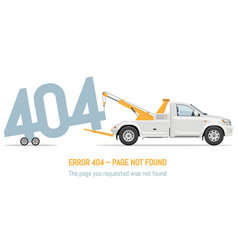 Error 404 page layout design with white tow truck vector