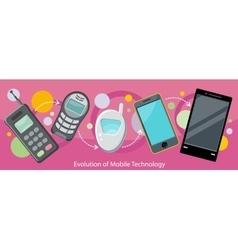 Evolution mobile technology design flat vector