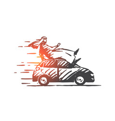 Extreme car ride concept sketch hand drawn vector