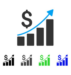 Financial bar chart flat icon vector