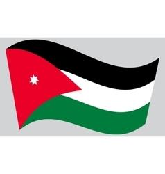 Flag of Jordan waving on gray background vector image