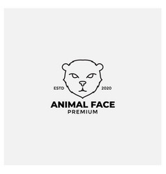 Forest cat or wildcat line modern logo design vector