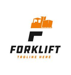 Forklift logo design tool letter f vector