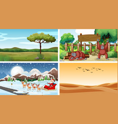 four scenes with animals and nature vector image