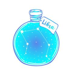 Glass bottle with zodiac libra constellation vector