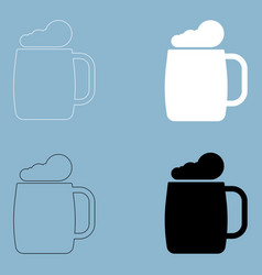 Glass of beer the black and white color icon vector