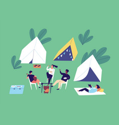 group diverse people relax at camping vector image