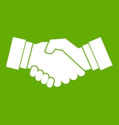 handshake icon green vector image