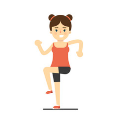 happy girl in sportswear doing sport exercise vector image