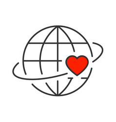 Heart revolves around earth line icon vector