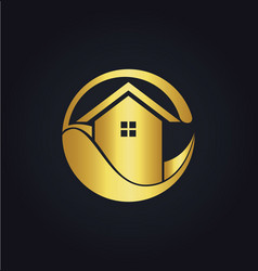 House eco icon gold logo vector