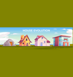 House evolution architecture dwellings time line vector