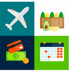 Import export fruits airplane transport vector