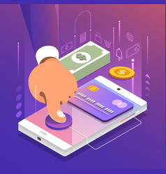 isometric online payment vector image