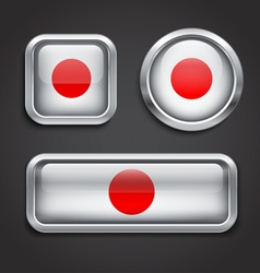 Japan flag glass buttons vector image