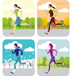 Jogging all year round vector