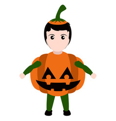 Kid with a pumpkin costume halloween vector