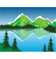 Lake in mountains vector