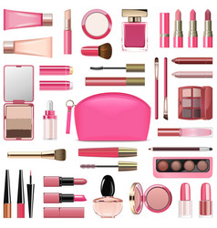 Makeup cosmetics with rose cosmetic bag vector