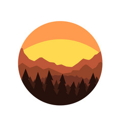 Minimalistic round icon with silhouette of pine vector