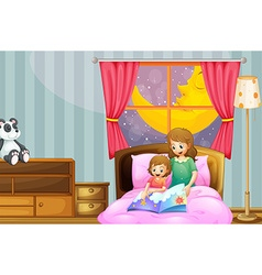 Mother telling bedtime story at night vector image