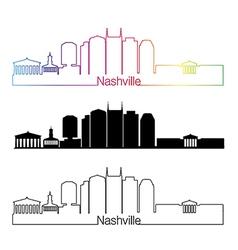 Nashville skyline linear style with rainbow vector image