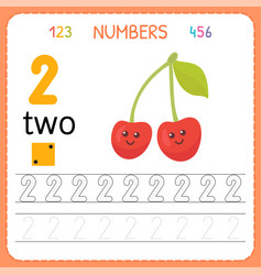 Numbers tracing worksheet for preschool and vector