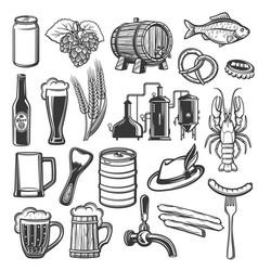 oktoberfest german bavarian beer festival icons vector image